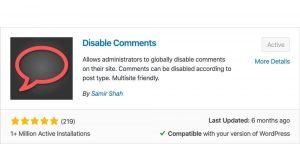 Dissable comments plugin